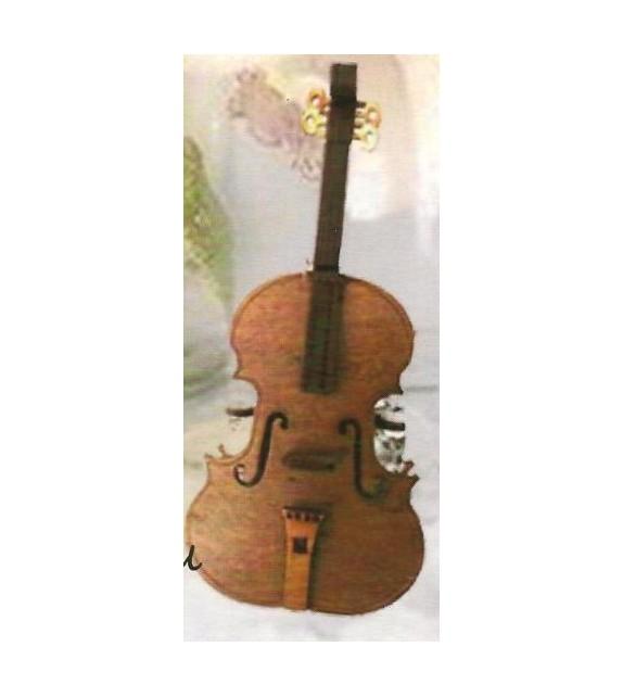Fa dísz pohártartó B-015 hegedű alakú